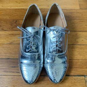 JCrew Metallic Silver Oxford Shoes